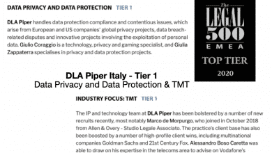 Photo of DLA Piper Italy Top Tier for The Legal 500 in Data Protection & TMT in 2020